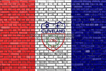 flagge von cleveland auf ziegelwand gemalt