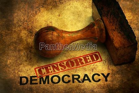 zensiertes demokratie grunge konzept