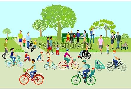 freizeit im park mit familien und