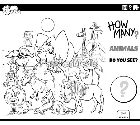 counting animals educational game coloring book