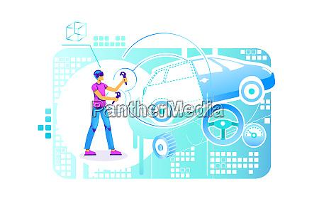 auto gebaeude ingenieur 2d vektor web
