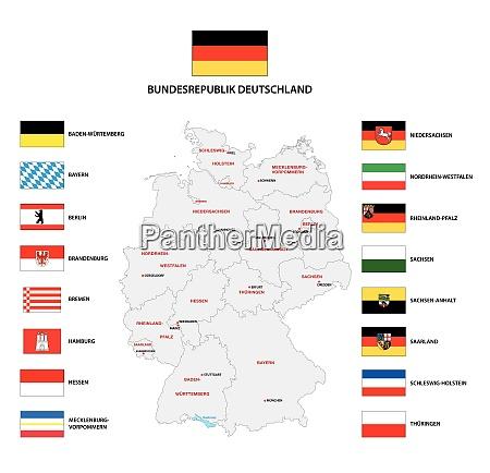 vektor verwaltungskarte der bundesrepublik deutschland mit