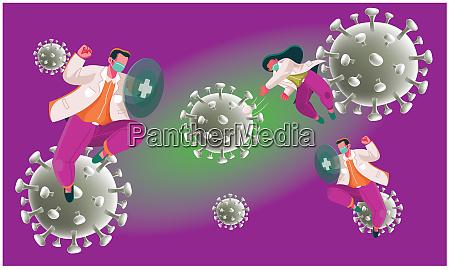kampf des inneren immunsystems mit viren