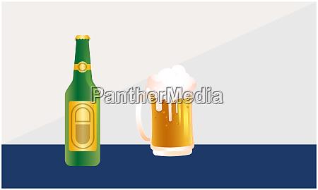 mock up illustration von bierflasche und