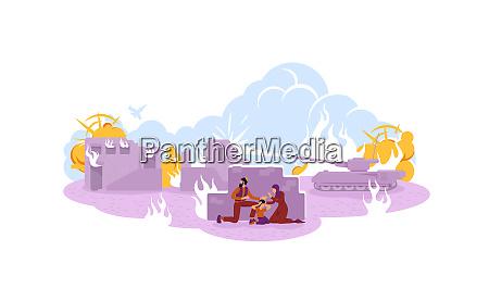 kriegsfluechtlinge 2d vektor web banner plakat
