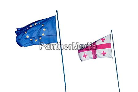 eu und georgien flagge auf weiss