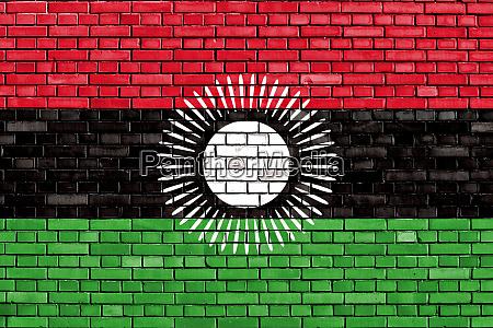 alte flagge von malawi auf ziegelwand