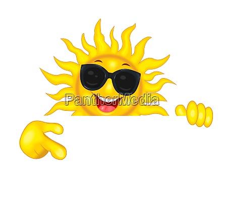 joyful sun in sunglasses points a