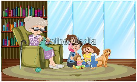 familie verbringt zeit mit ihrer grossmutter