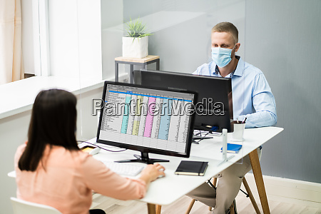 business employee social distancing using sneeze