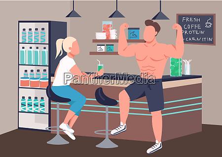 fitnesskultur, flache, farbe, vektor, illustration - 28648899