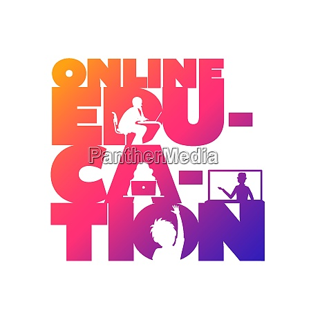 online education concept typographic design vector