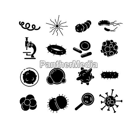 bakterien glyphen vektor symbole gesetzt
