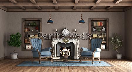 wohnzimmer im klassischen stil mit kamin