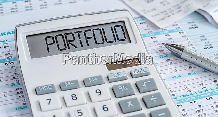 ein rechner mit dem wort portfolio