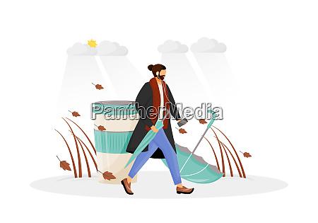 mann im mantel gehen fuer spaziergang