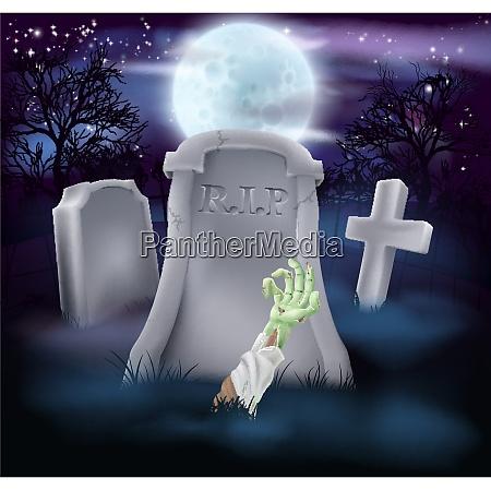 zombie grab halloween illustration