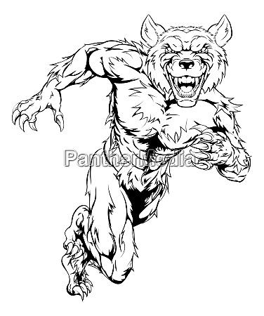 wolfman maskottchen sprinten