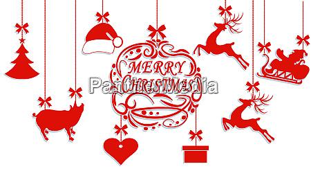 frohe weihnachten weihnachtsmann hut hirsch herz