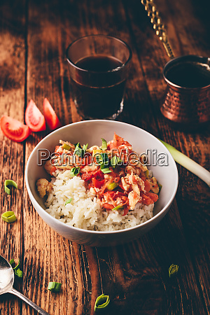 scrambled, eggs, with, tomatoes, , leek, and - 28677886