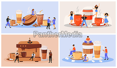 kaffeekultur, flaches, konzept, vektor, illustration, set. - 28678894