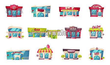 shop front flache farbe vektor objekte
