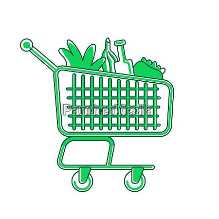 einkaufswagen gruenes lineares objekt trolley mit