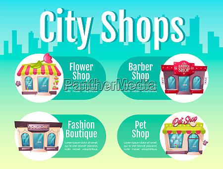 city shop flache farbe vektor information