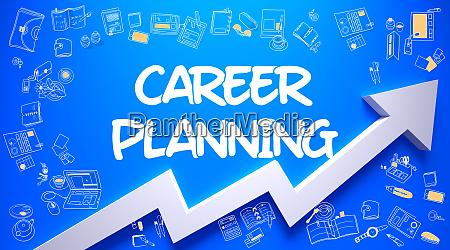 karriereplanung gezeichnet auf blue wall