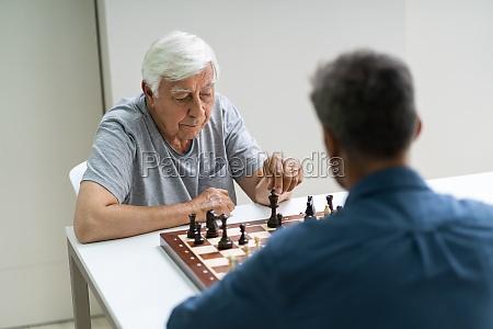 Ältere, senioren, spielen, schach, - 28693923