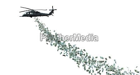 helikopter verteilt geld isoliert auf weiss