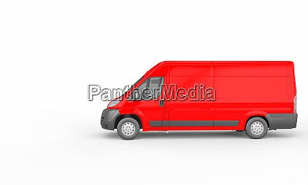 roter lastwagen auf weissem grund logistik