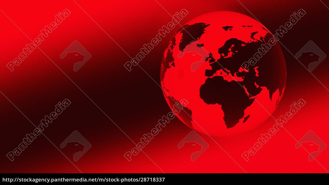 digitally, generated, red, globe - 28718337