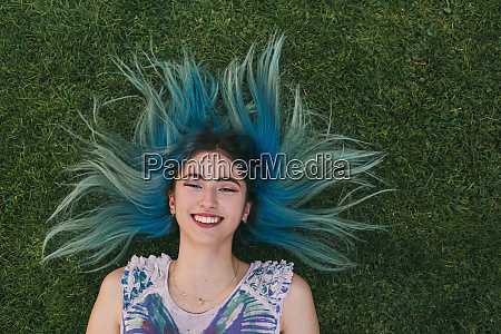 overhead portrait carefree young woman with