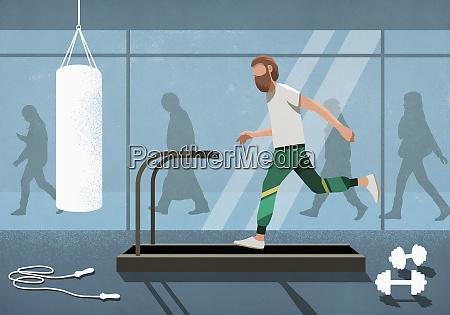 business people walking behind man running