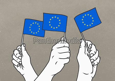 haende schwenken kleine flaggen der europaeischen