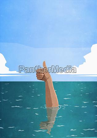 sinkende hand gestikulieren daumen hoch im