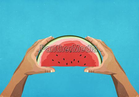 persoenliche perspektive haende halten wassermelonenscheibe