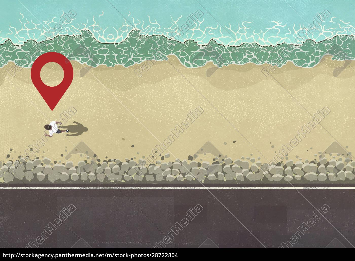 map, pin, icon, above, man, walking - 28722804