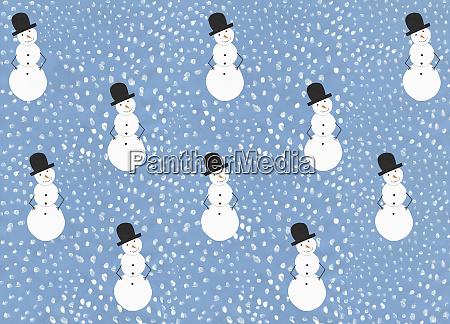abbildung schnee und schneemannmuster auf blauem