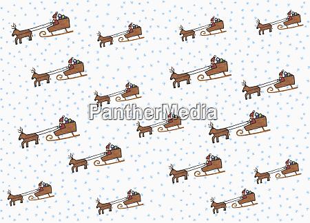 illustration weihnachtsmann und schlittenmuster auf weissem