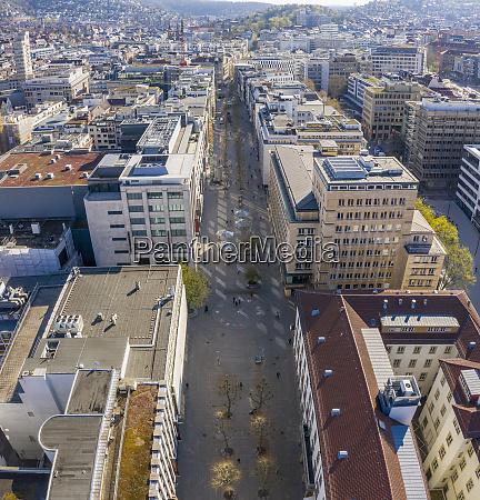 aerial view sunny cityscape stuttgart baden