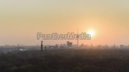 golden sunset over berlin cityscape and