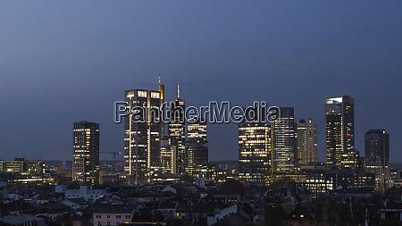skyscrapers in cityscape at night frankfurt