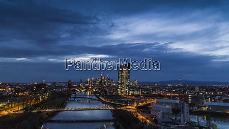 frankfurt cityscape illuminated at night germany
