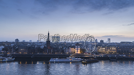 duesseldorf cityscape and rhine river at
