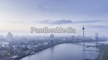 scenic view duesseldorf cityscape and rhine