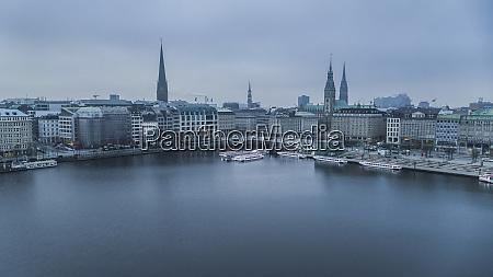 hamburg cityscape and elbe river germany