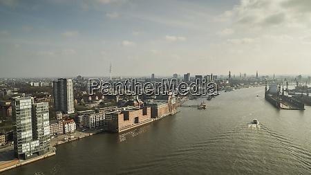 scenic view sunny hamburg cityscape and