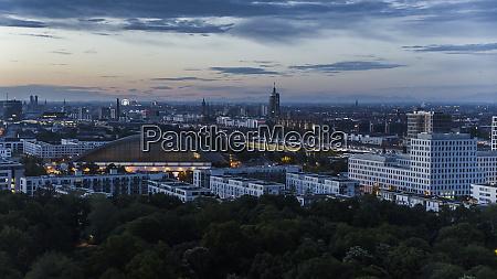 munich cityscape and hirschgarten at dusk